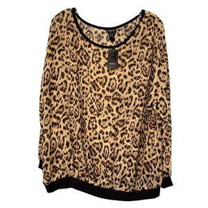 Torrid Leopard Print Chiffon Pullover Sheer 1 NWT